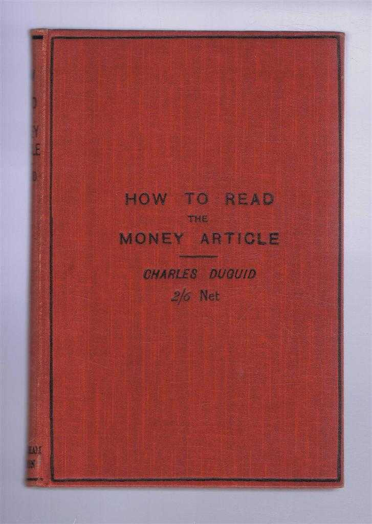 How To Read the Money Article, Charles Duguid