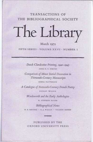 EDITED BY PETER DAVISON - The Transactions of the Bibliographical Society, The Library, Fifth Series, Volume XXVII, Number 1 March 1972