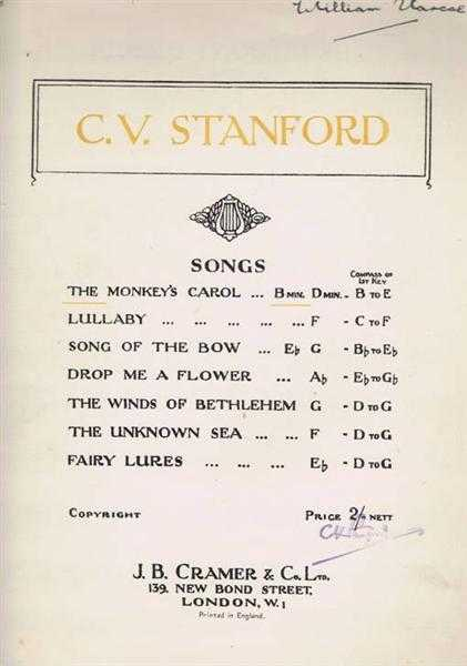 The Monkey's Carol, song in B min., Music by C V Stanford; Poem by W M Letts