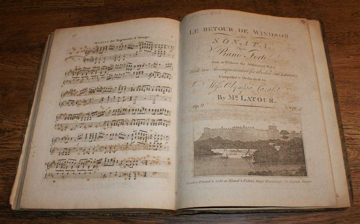 Bound Collection of Twenty-Three Late 18th and Early19th Century Sheet Music Scores for Piano or Song and Piano, Reginald Spofforth; J Pleyel; Mozart; Bruguier; J L Dussek; J F Burrowes; Mr Braham; Wm Sheild; T H Butler; Holst; J Jay; Kirmair; L'Abbe Gelinek; John Davy; Mr Letour