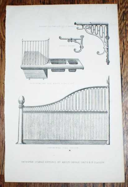 "Engraved Plate from C19 Agricultural Book showing ""Improved Stable Fittings by Messrs. George Smith & Co. Glasgow, Not given"