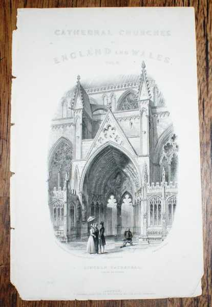Image for Disbound Vignette Title Page with Engraving of Lincoln Cathedral's South Entrance, from Winkles's Architectural and Picturesque Illustrations of the Cathrdral Churches of England and Wales Vol. II