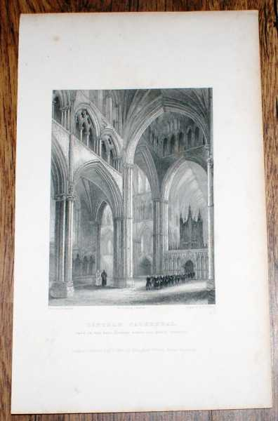 "Image for Disbound Engraving of Lincoln Cathedral, in the nave, looking across the north transept"", from Winkles's Architectural and Picturesque Illustrations of the Catherdral Churches of England and Wales Vol. II"