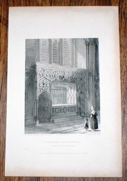 "Disbound Engraving of ""Bishop Langton's Monument"" at Lincoln Cathedral, from Winkles's Architectural and Picturesque Illustrations of the Catherdral Churches of England and Wales Vol. II, B. Winkles and R. Garland"