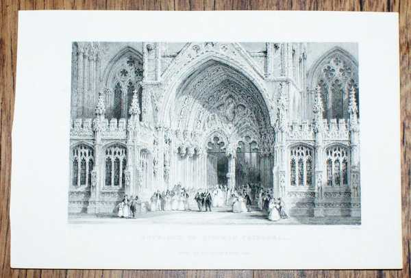 """Image for Disbound Engraving of """"Entrance to Lincoln Cathedral"""""""