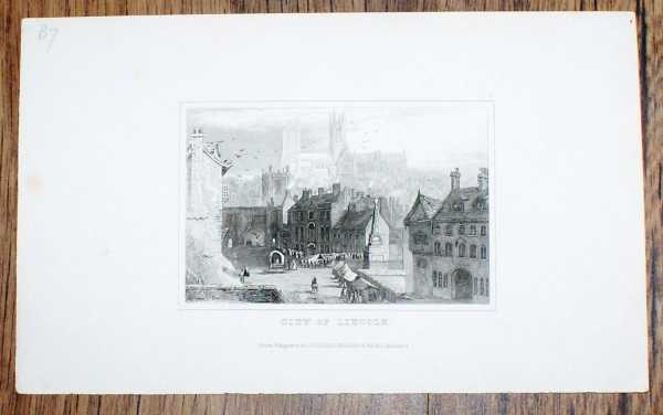 """Image for Disbound Engraving of the """"City of Lincoln"""" Drawn and Engraved for Dugdales England and Wales"""