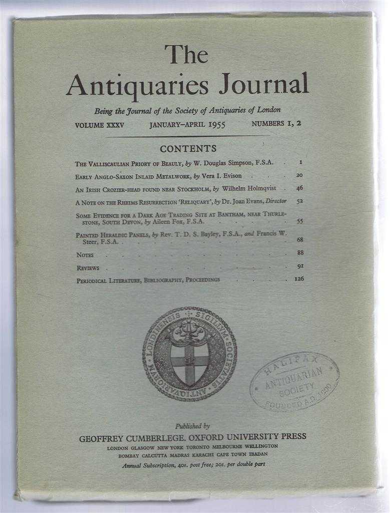 Image for The Antiquaries Journal, Being the Journal of The Society of Antiquaries of London, Volume XXXV, 1955, Numbers 1, 2. January - April 1955