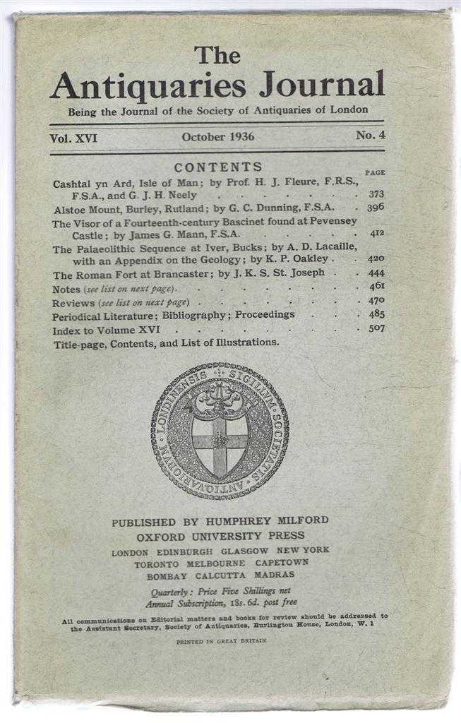 Image for The Antiquaries Journal, Being the Journal of The Society of Antiquaries of London, Volume XVI 1936, Number 4. October 1936