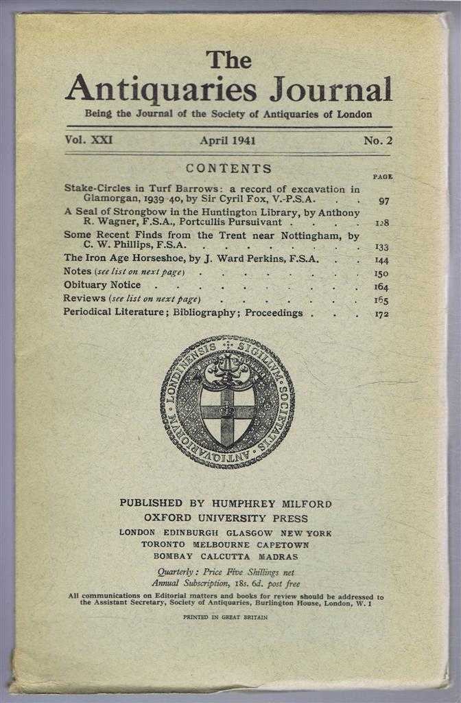 Image for The Antiquaries Journal, Being the Journal of The Society of Antiquaries of London, Volume XXI, 1941, Number 2. April 1941