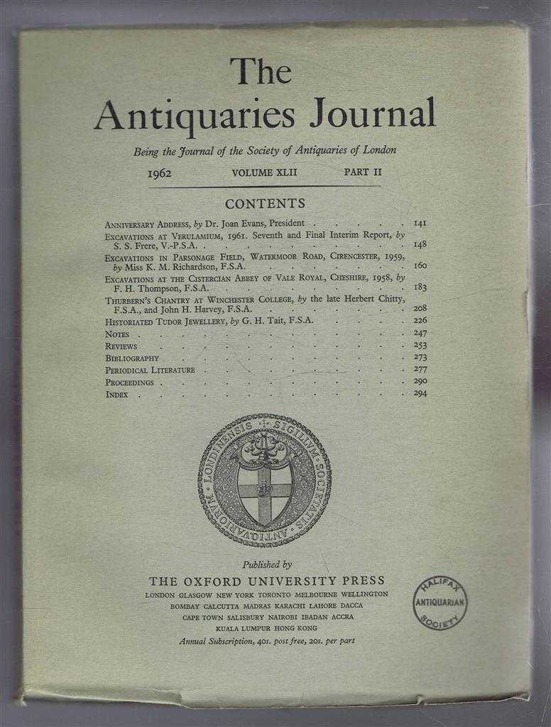 Image for The Antiquaries Journal, Being the Journal of The Society of Antiquaries of London, Volume XLII, 1962, Part II