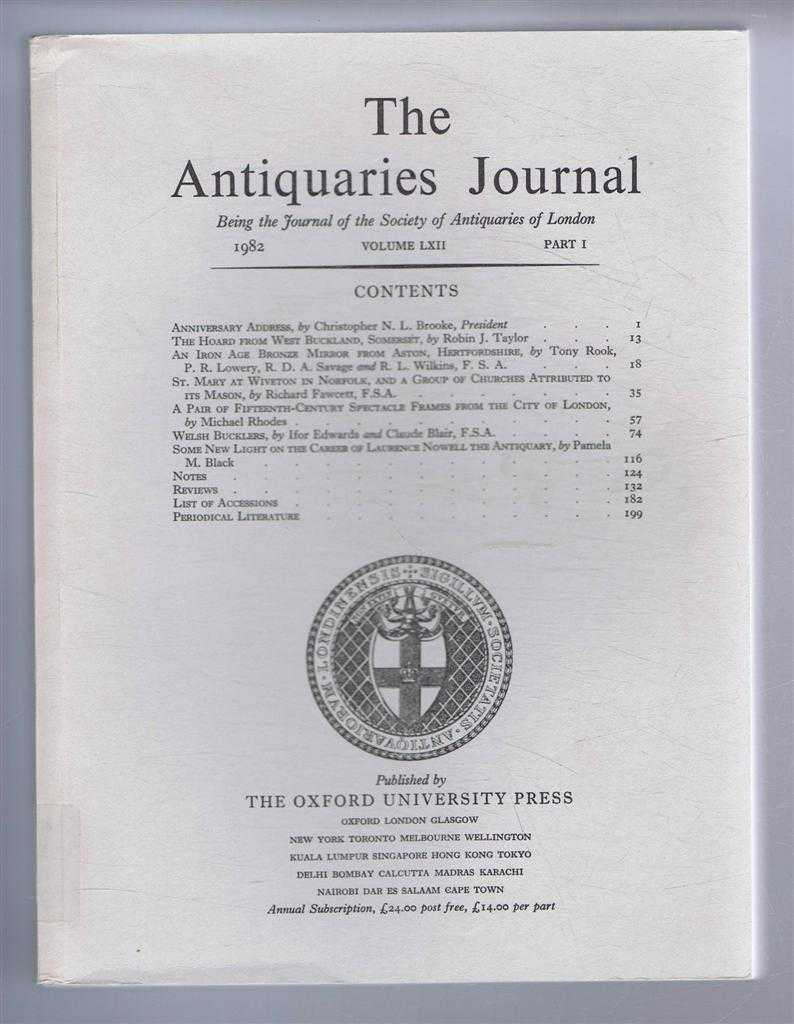 Image for The Antiquaries Journal, Being the Journal of The Society of Antiquaries of London, Volume LXII, 1982, Part I