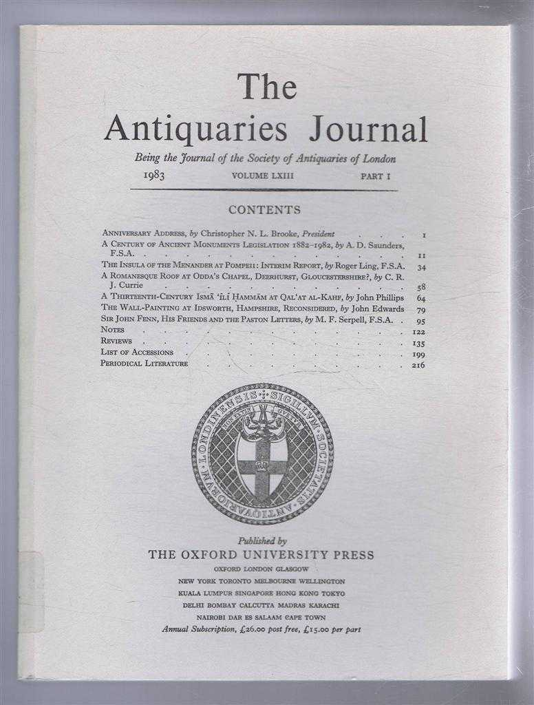 Image for The Antiquaries Journal, Being the Journal of The Society of Antiquaries of London, Volume LXIII, 1983, Part I