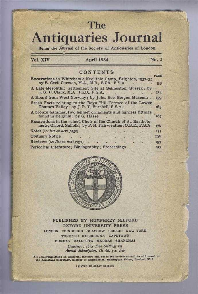 Image for The Antiquaries Journal, Being the Journal of the Society of Antiquaries of London, Vol XIV, No. 2, April 1934