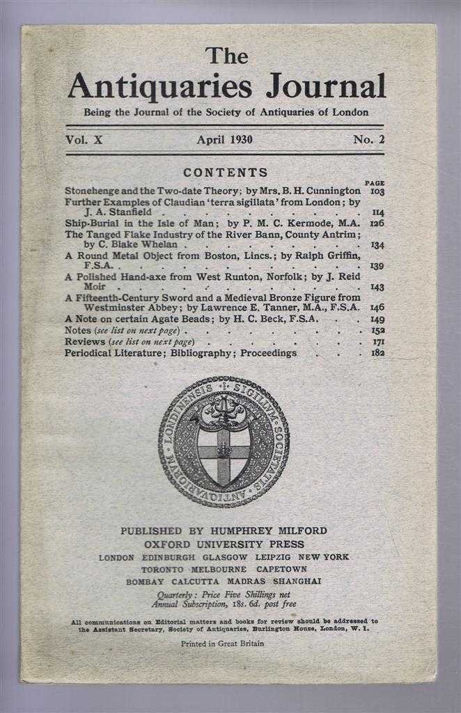 Image for The Antiquaries Journal, Being the Journal of the Society of Antiquaries of London, Vol X, No. 2, April 1930