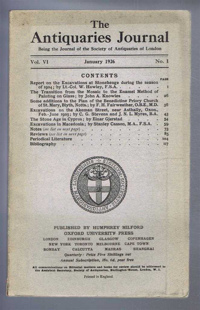 Image for The Antiquaries Journal, Being the Journal of the Society of Antiquaries of London, Vol VI, No. 1, January 1926