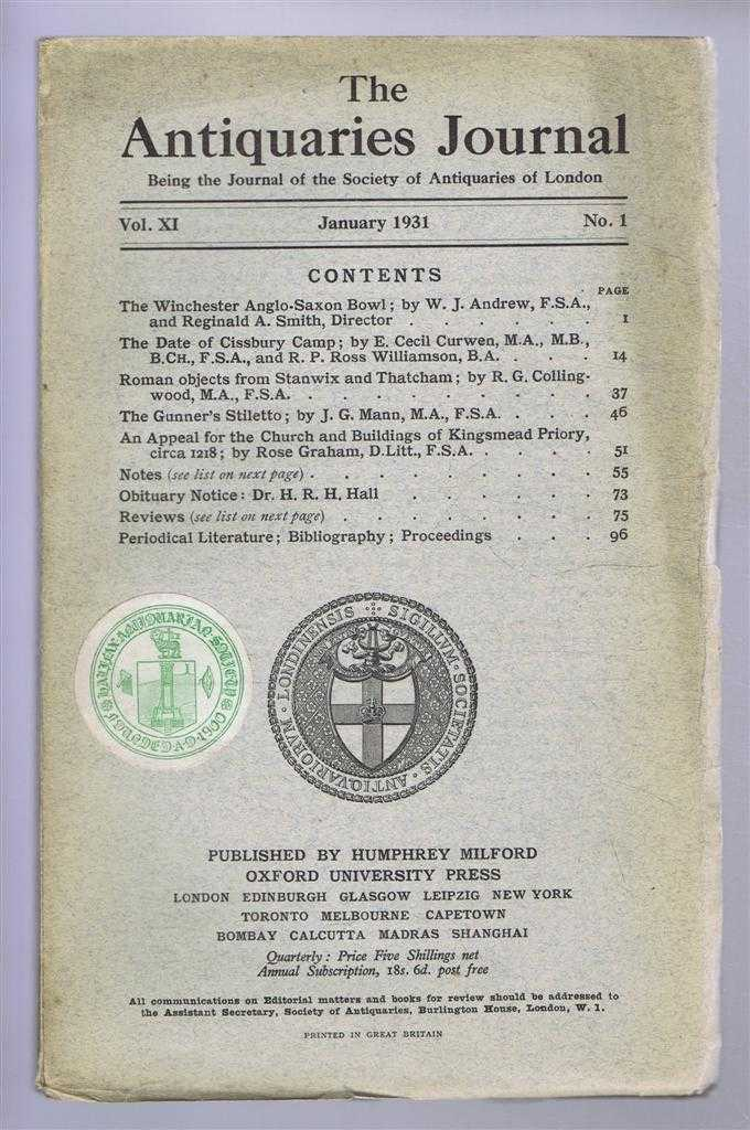 Image for The Antiquaries Journal, Being the Journal of the Society of Antiquaries of London, Vol XI, No. 1, January 1931