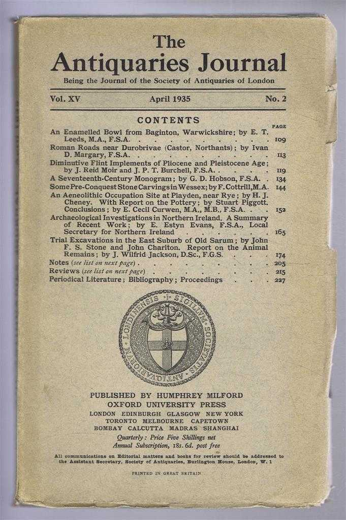 Image for The Antiquaries Journal, Being the Journal of the Society of Antiquaries of London, Vol XV, No. 2, April 1935