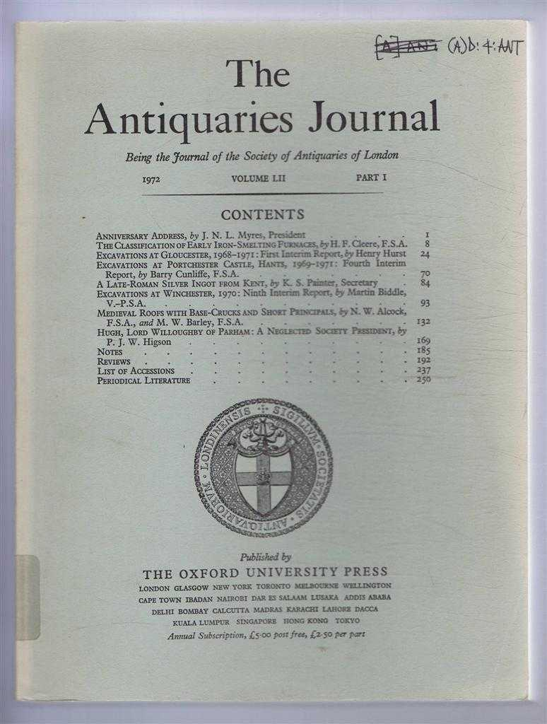 Image for The Antiquaries Journal, Being the Journal of the Society of Antiquaries of London, Vol LII, Part I, 1972