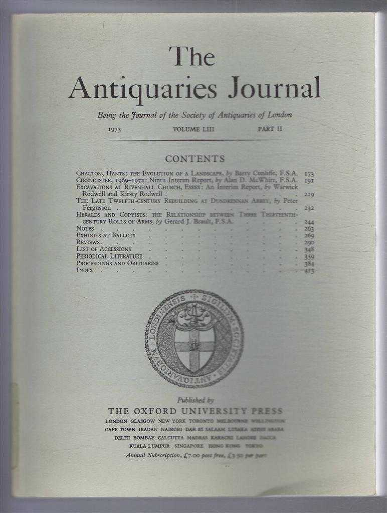 Image for The Antiquaries Journal, Being the Journal of the Society of Antiquaries of London, Vol LIII, Part II, 1973