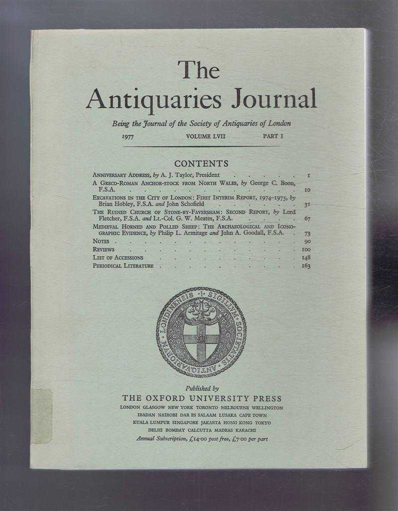 Image for The Antiquaries Journal, Being the Journal of the Society of Antiquaries of London, Vol LVII, Part I, 1977