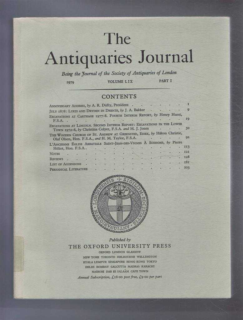 Image for The Antiquaries Journal, Being the Journal of the Society of Antiquaries of London, Vol LIX, Part I, 1979