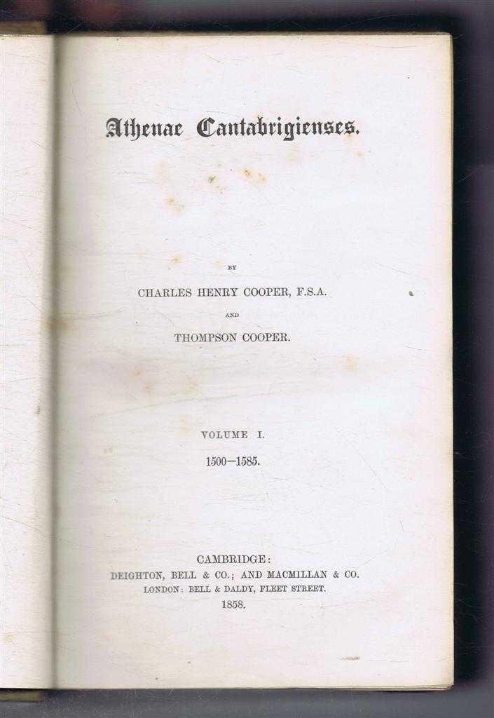 Image for Athenae Cantabrigiensis Volume I 1500-1585