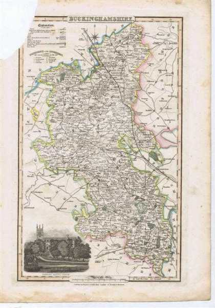 Image for 1839 Map of the County of Buckinghamshire - taken from Pigot and Co's British Atlas Comprising the Counties of England (upon which are laid down all railways completed and in progress)