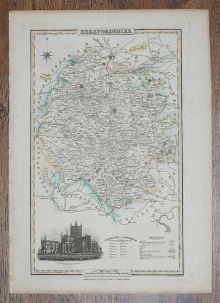 1839 Map of the County of Herefordshire - taken from Pigot and Co's British Atlas Comprising the Counties of England (upon which are laid down all railways completed and in progress), Pigot and Co