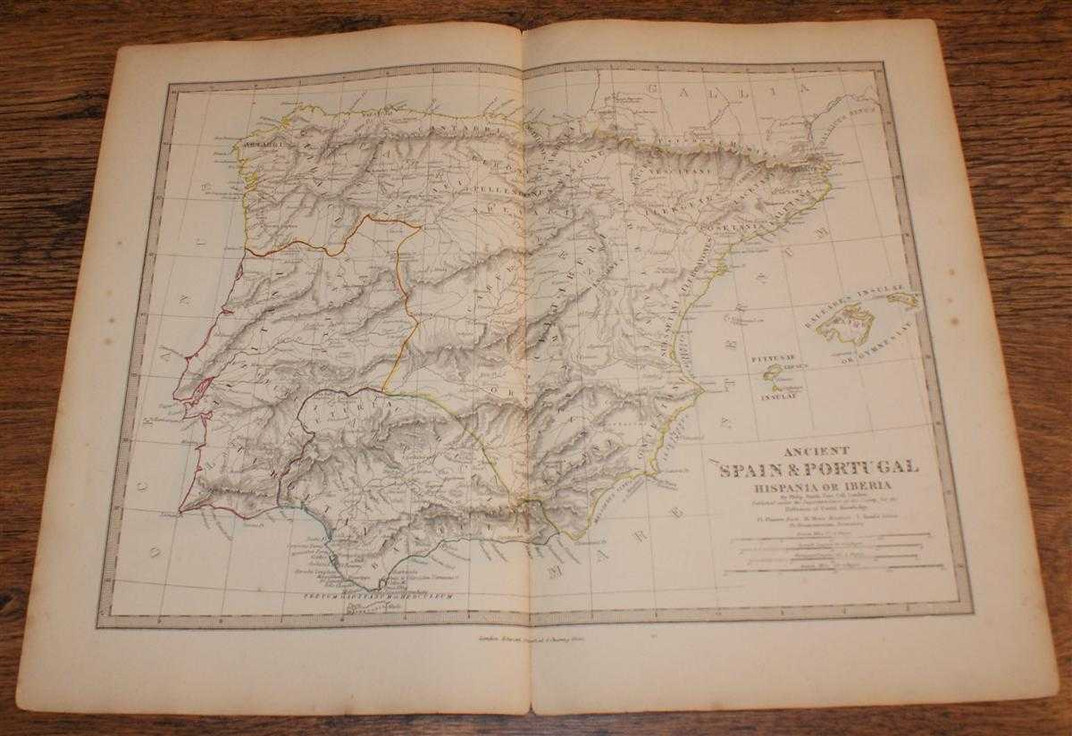 """Map of Ancient Spain & Portugal (Hispania or Iberia) - disbound sheet from 1857 """"University Atlas"""", Edward Stanford, Drawn by Rev. Philip Smith"""