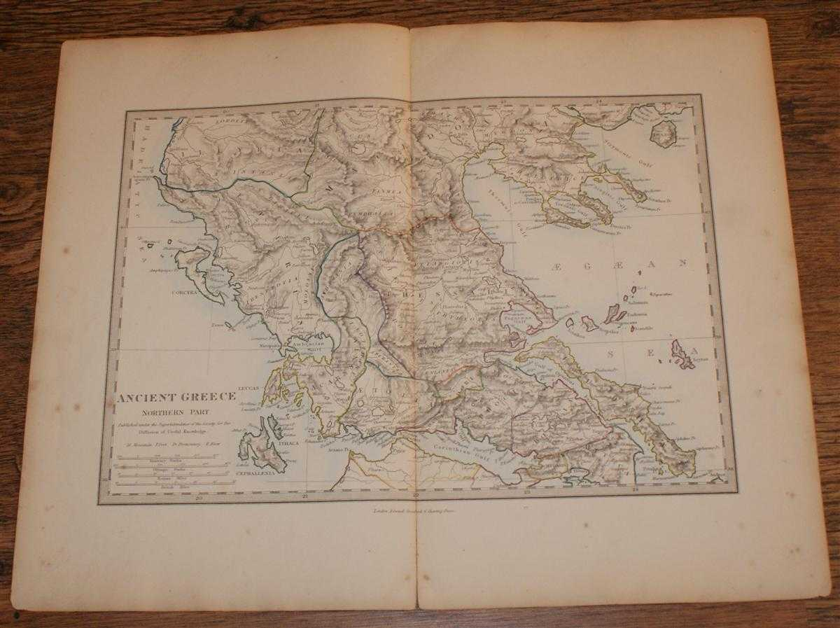 """Image for Map of Ancient Greece Northern Part - disbound sheet from 1857 """"University Atlas"""""""