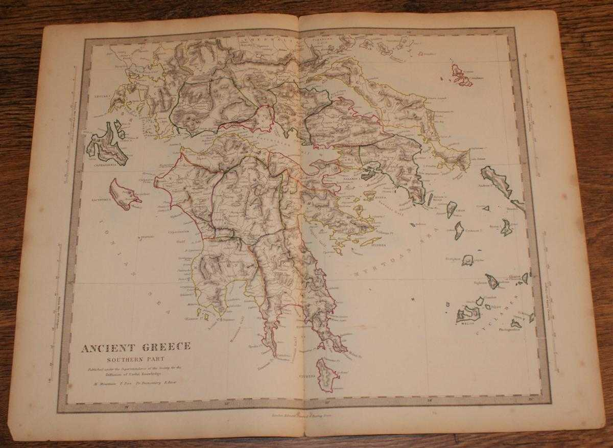 """Image for Map of Ancient Greece Southern Part - disbound sheet from 1857 """"University Atlas"""""""