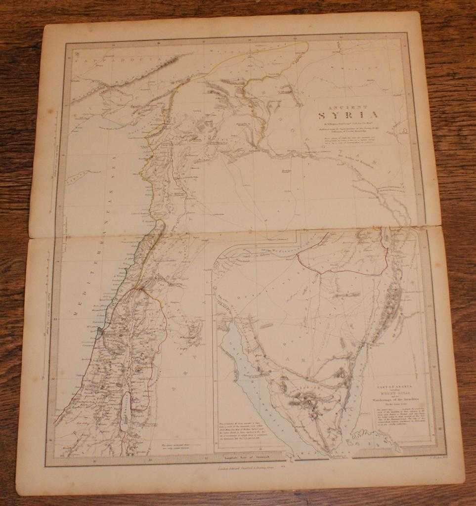 """Map of Ancient Syria - disbound sheet from 1857 """"University Atlas"""", Edward Stanford, W. Hughes"""