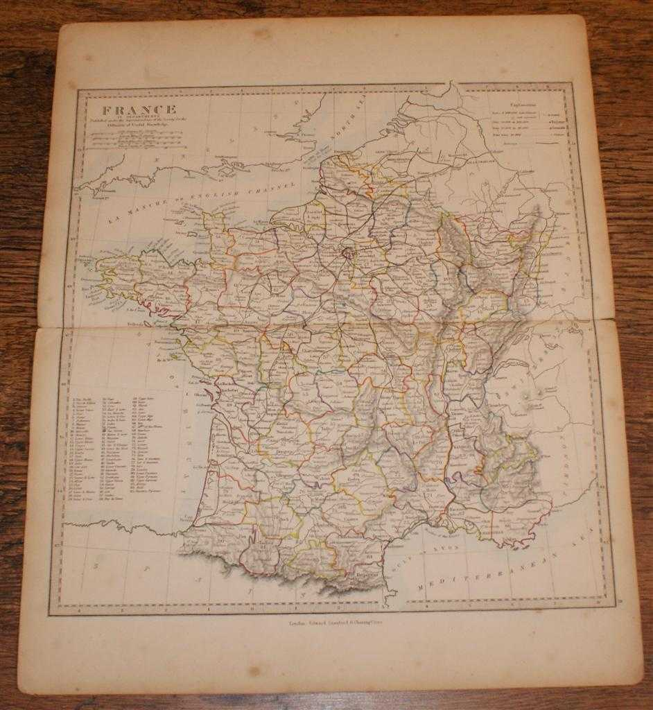 """Image for Map of France in Departments - disbound sheet from 1857 """"University Atlas"""""""