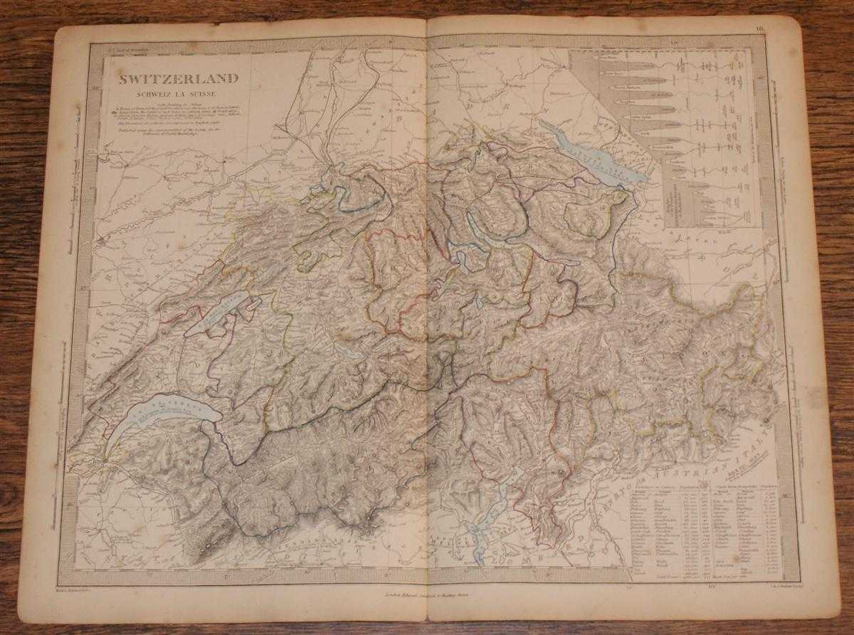 "Map of Switzerland (Schweiz La Suisse) - disbound sheet from 1857 ""University Atlas"", Edward Stanford, J. & C. Walker"