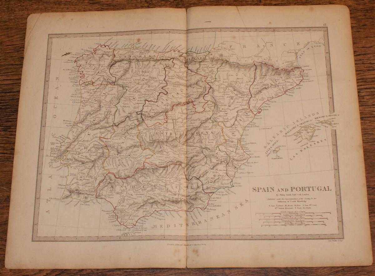 """Map of Spain and Portugal - disbound sheet from 1857 """"University Atlas"""", Edward Stanford, Philip Smith, J. & C. Walker"""