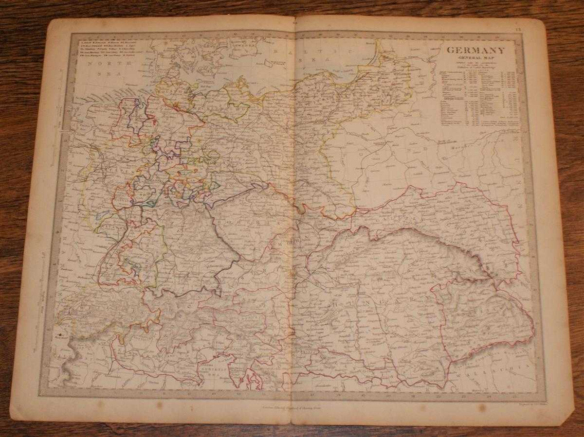 "Map of Germany (including modern day Hungary, Romania, Poland, Czech Republic, Slovakia, etc.) - disbound sheet from 1857 ""University Atlas"", Edward Stanford, Philip Smith, J. & C. Walker"