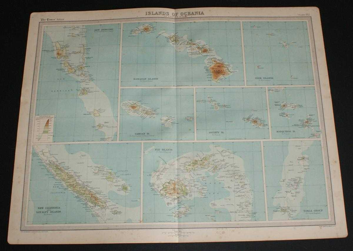 Image for Map of 'Islands of Oceania' from the 1920 Times Survey Atlas (Plate 112) Including Hawaii, Fiji Islands, Tonga Group, New Hebrides, Cook Islands, etc.