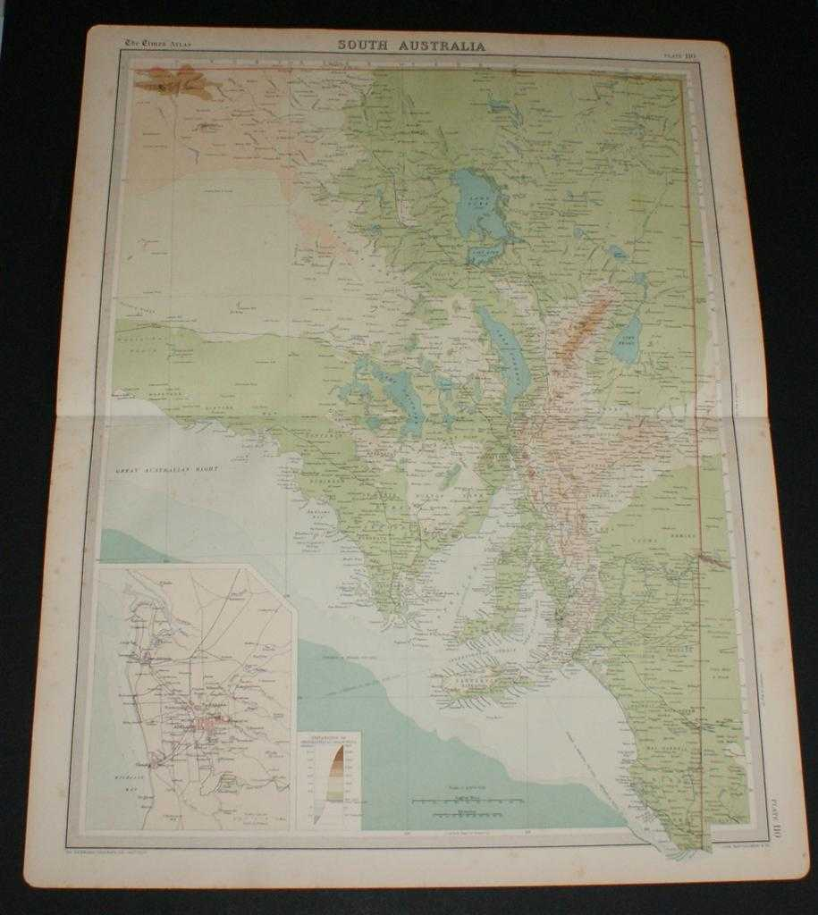 Image for Map of South Australia from the 1920 Times Survey Atlas (Plate 110) including inset map of Adelaide and Environs