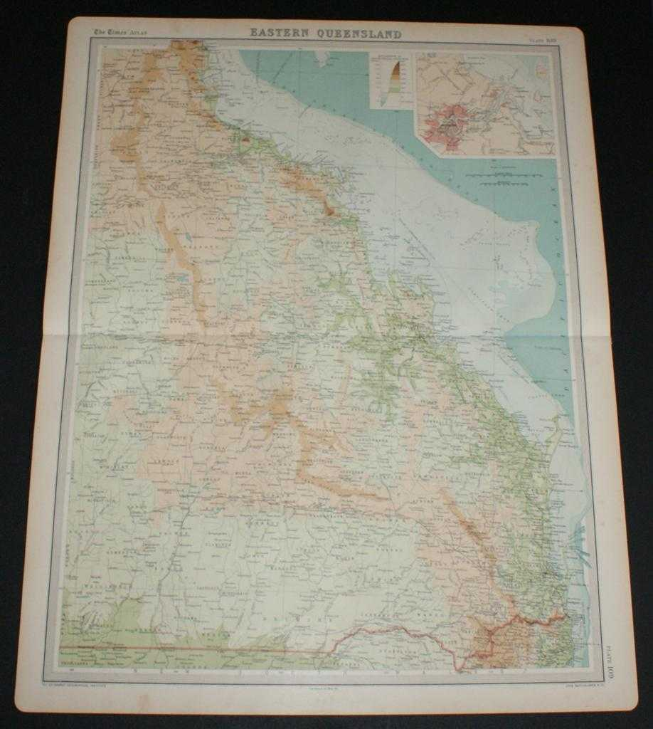 Image for Map of Eastern Queensland, Australia from the 1920 Times Survey Atlas (Plate 109) including inset map of Brisbane and Environs