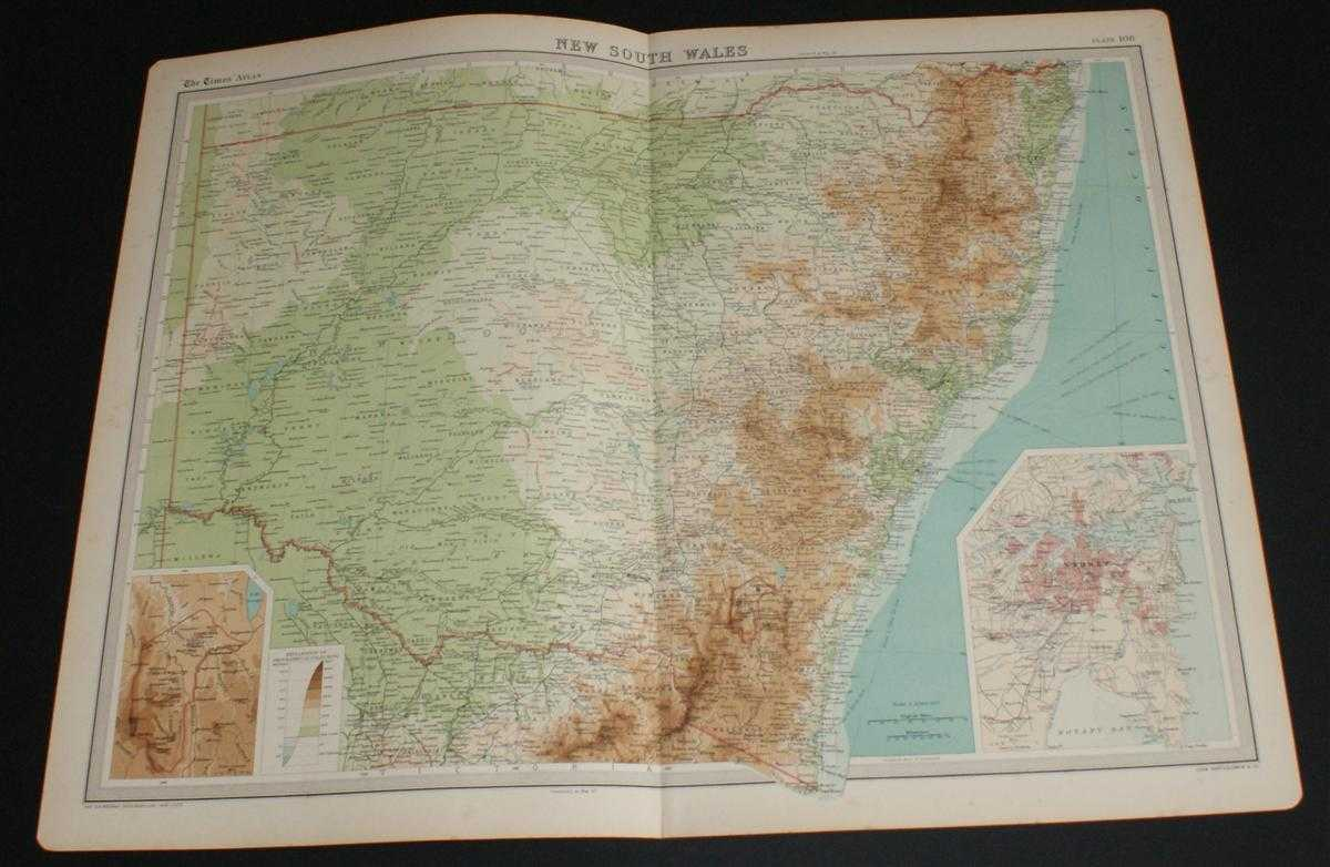 Image for Map of New South Wales, Australia from the 1920 Times Survey Atlas (Plate 108) including inset maps of Canberra and Sydney and environs