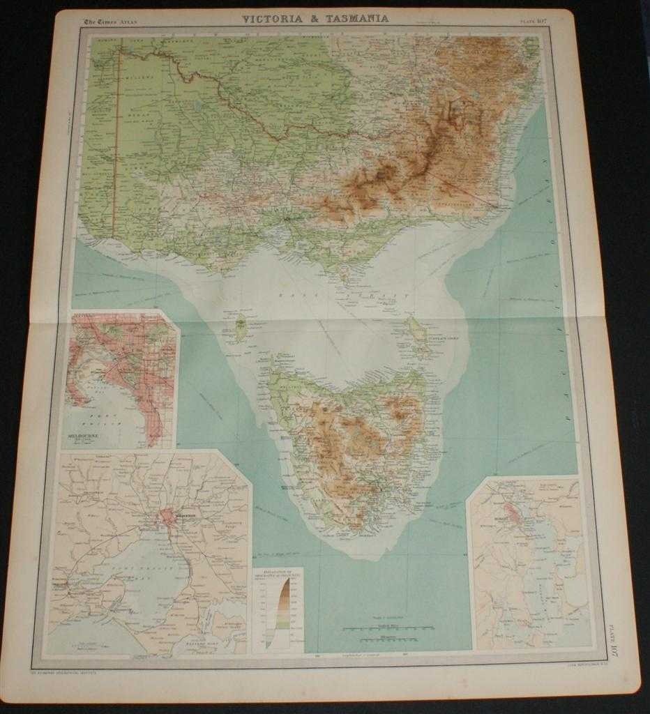 Image for Map of Victoria and Tasmania, Australia from the 1920 Times Survey Atlas (Plate 107) including inset maps of Melbourne and Hobart and environs