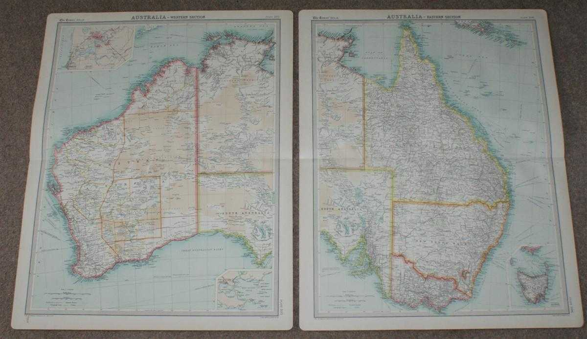 Image for Map of Australia in 2 sheets from the 1920 Times Survey Atlas (Plates 105 and 106)