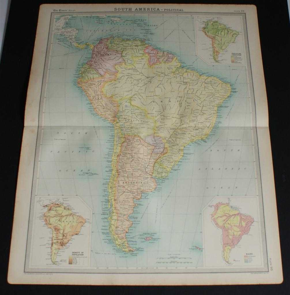 Image for Map of South America from the 1920 Times Survey Atlas (Plate 104 South America - Political) Including Inset Maps for Population Density, Race and Vegetation
