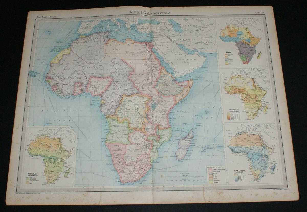 Image for Map of Africa from the 1920 Times Survey Atlas (Plate 68 Africa - Political) Including Inset Maps for Population Density, Rainfall, Race and Vegetation