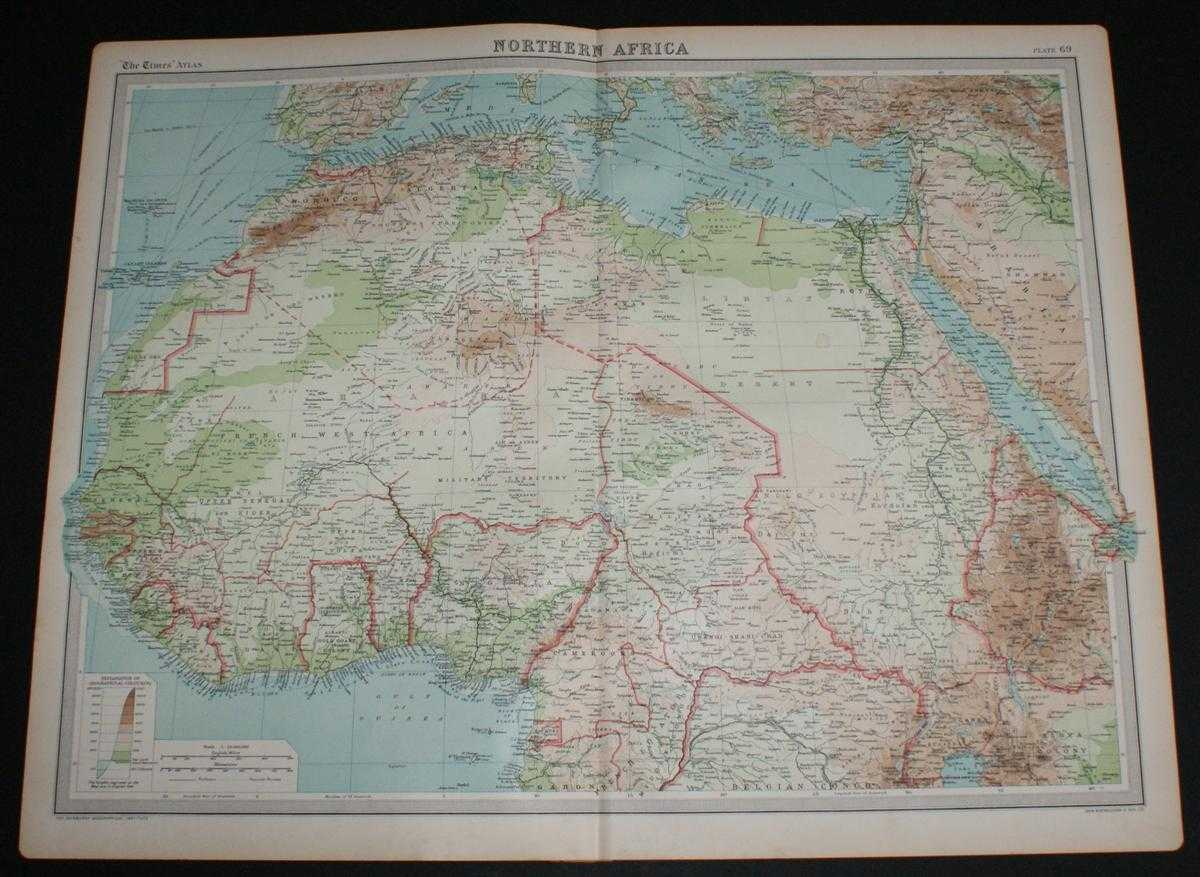 Image for Map of Northern Africa from the 1920 Times Survey Atlas (Plate 69) including Morocco, Algeria, Libya, Egypt, Senegal, French West Africa, Nigeria, Cameroon, Uganda, Red Sea, etc.