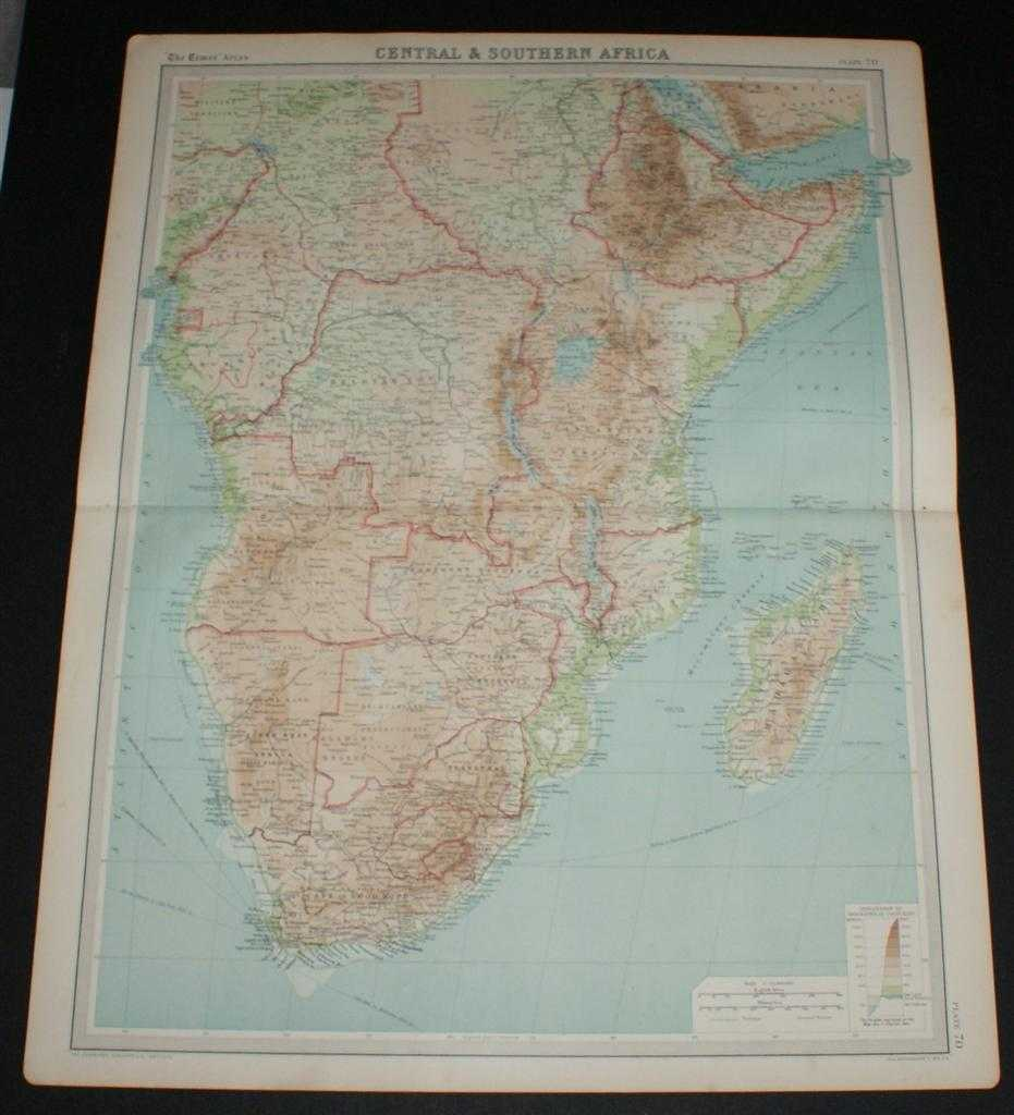 Image for Map of Central & Southern Africa from the 1920 Times Survey Atlas (Plate 70) including Cameroons, Gambon, French Equatorial Africa, Abyssinia, Belgian Congo, Tanganyika Territory, Angola, Rhodesias, Transvaal, Madagascar, etc.
