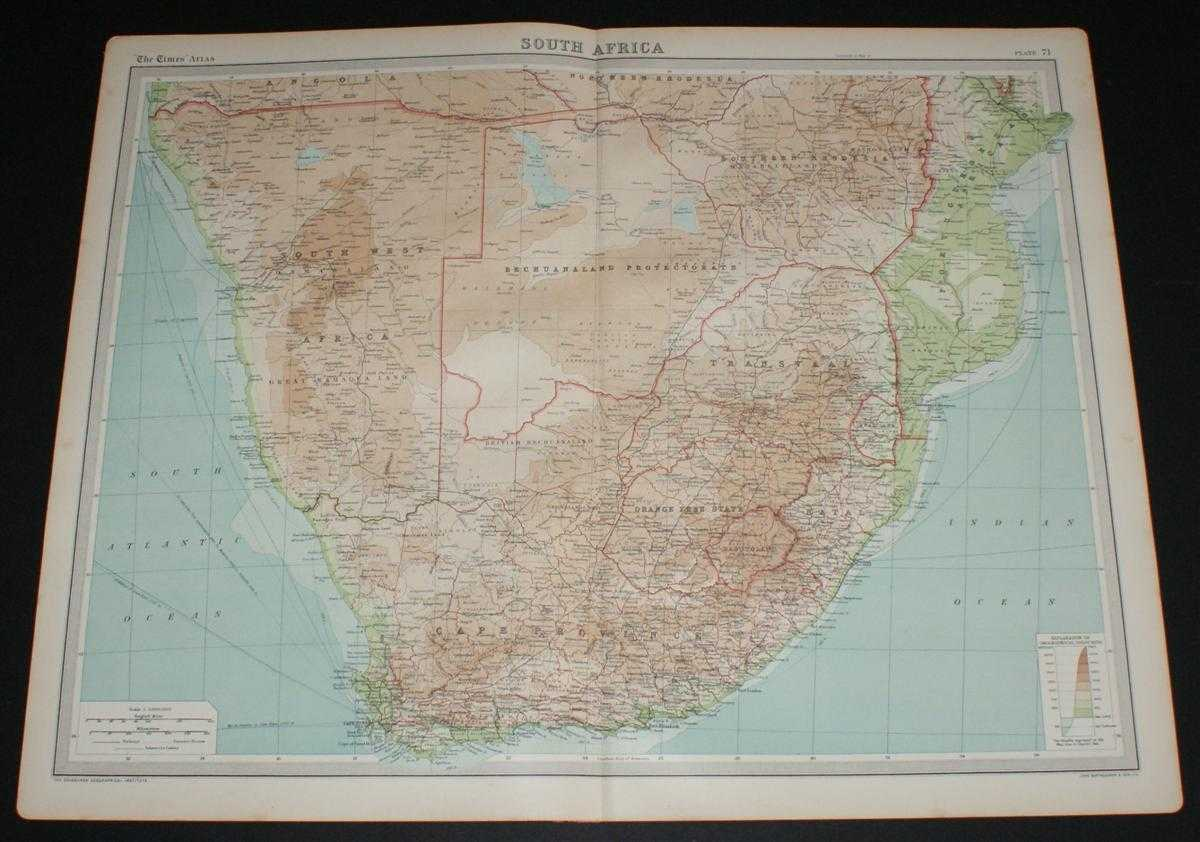 Image for Map of South Africa from the 1920 Times Survey Atlas (Plate 71) including Cape Province, Orange Free State, Transvaal, Bechuanaland Protectorate, Southern Rhodesia, South West Africa, Swaziland, Natal, Portuguese East Africa, etc.