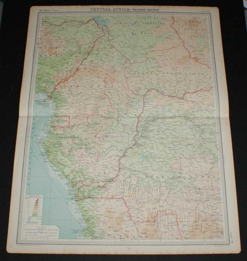 Image for Map of Central Africa - Western Section from the 1920 Times Survey Atlas (Plate 74) including Unbangi-Shari-Chad, Cammeroons, French Equatorial Africa, Gabon, Spanish Guinea, Belgian Congo (part), Nigeria (part), etc.