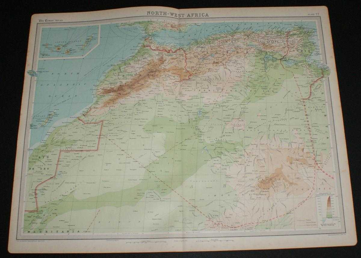 Image for Map of North-West Africa from the 1920 Times Survey Atlas (Plate 77) including Morocco, Gibraltar, Canary Islands, Madeira Islands, Algeria, Tunis, Atlas Mountains, Sahara (part), etc.