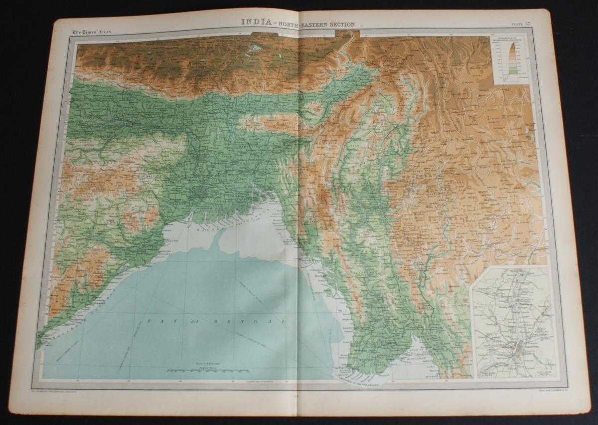 """Map of """"India - North-Eastern Section"""" from the 1920 Times Survey Atlas (Plate 57) covering parts of modern day India, Bangladesh, Nepal, Tibet, Bhutan, Myanmar, etc., The Times and J. G. Bartholomew"""